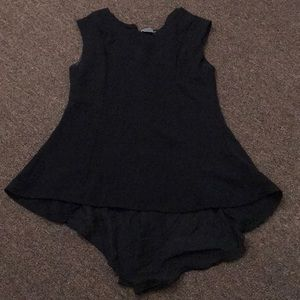 Black sleeveless top with trail &see through back